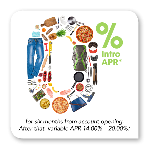 0% intro APR* for 6 months. After that, variable 14.00%-20.00%